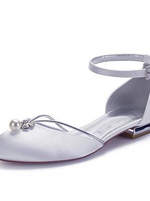 Χαμηλού Κόστους Μίνι Φορέματα-Γυναικεία Γαμήλια παπούτσια Άνοιξη / Καλοκαίρι Επίπεδο Τακούνι Στρογγυλή Μύτη Κλασσικό Γλυκός Γάμου Πάρτι & Βραδινή Έξοδος Τεχνητό διαμάντι / Απομίμηση Πέρλας Μονόχρωμο Σατέν Λευκό / Μαύρο / Βυσσινί