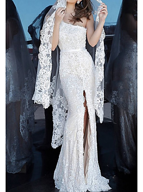 cheap Prom Dresses-Mermaid / Trumpet Luxurious Sexy Engagement Formal Evening Dress One Shoulder Sleeveless Floor Length Lace with Split 2020