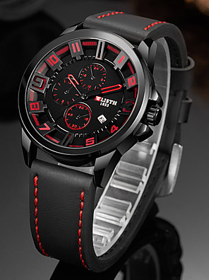 cheap Smart Watches-WLISTH Men's Sport Watch Quartz Sporty Stylish Casual Water Resistant / Waterproof PU Leather Black Analog - Digital - Red Orange Green Two Years Battery Life / Calendar / date / day