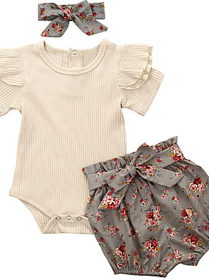 cheap Baby Girls' One-Piece-Baby Girls' Basic Floral Sleeveless Regular Clothing Set Gray