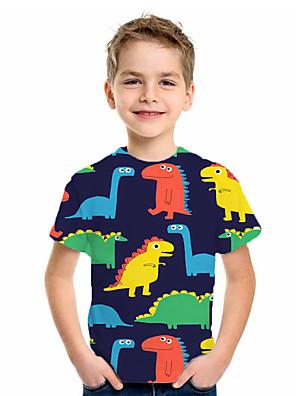cheap Boys' Tops-Kids Boys' Basic Animal Print Short Sleeve Tee Rainbow