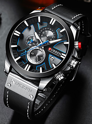 cheap Sport Watches-CURREN Men's Sport Watch Quartz Stylish Vintage Water Resistant / Waterproof PU Leather Black / Blue / Brown Analog - Black Blue Silver / Altimeter / Calendar / date / day / Chronograph / Large Dial