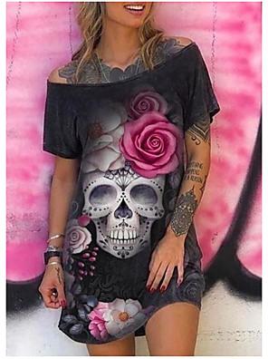 cheap Women's Dresses-Women's T Shirt Dress Knee Length Dress - Short Sleeves Print Summer Casual Vintage 2020 Black S M L XL XXL XXXL XXXXL