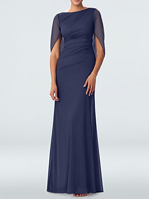 cheap Evening Dresses-Sheath / Column Mother of the Bride Dress Elegant Jewel Neck Floor Length Chiffon 3/4 Length Sleeve with Pleats 2020