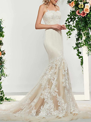 cheap Prom Dresses-Mermaid / Trumpet Wedding Dresses Spaghetti Strap Sweep / Brush Train Lace Satin Tulle Sleeveless Romantic with Embroidery Appliques 2020