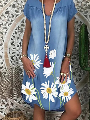 cheap Maxi Dresses-Women's Denim Dress Knee Length Dress - Short Sleeve Floral Print Summer V Neck Casual 2020 White Navy Blue M L XL XXL XXXL