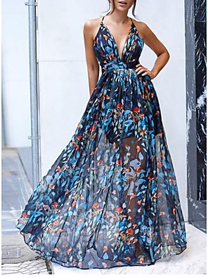 cheap Mini Dresses-Women's Strap Dress Maxi long Dress - Sleeveless Floral Summer Casual Chinoiserie 2020 Blue S M L XL