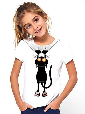 billige Pigetoppe-Børn Pige Basale Kat Dyr Trykt mønster Kortærmet T-shirt Hvid