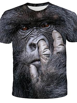 abordables T-shirts & Débardeurs Homme-Homme Tee-shirt Graphique Animal Imprimé Hauts Chic de Rue Exagéré Col Arrondi Noir / Manches Courtes