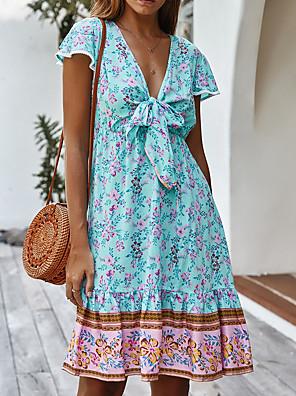 preiswerte Für Junge Frauen-Damen A-Linie Kleid Knielanges Kleid - Kurze Ärmel Blumen Sommer Freizeit Boho 2020 Blau Gelb Rosa Grün S M L XL