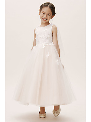 cheap Prom Dresses-A-Line Floor Length Wedding / Party Flower Girl Dresses - Satin / Tulle Sleeveless Jewel Neck with Appliques / Solid