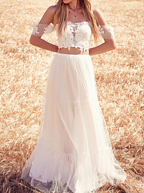 cheap Wedding Dresses-Two Piece Wedding Dresses Off Shoulder Sweep / Brush Train Tulle Short Sleeve Beach with Appliques 2020
