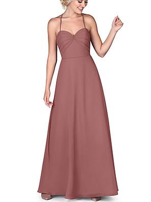 cheap Bridesmaid Dresses-A-Line Halter Neck Floor Length Chiffon Bridesmaid Dress with Ruching