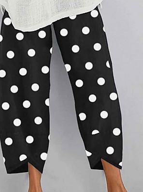 cheap Women's Pants-Women's Basic Loose Chinos Pants Polka Dot Black Green S M L