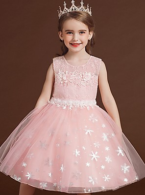 cheap Christening Gowns-Princess / Ball Gown Knee Length Wedding / Party Flower Girl Dresses - Lace / Tulle Sleeveless Jewel Neck with Bow(s) / Appliques