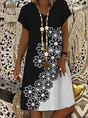 cheap Knee Length Dresses-Women's A-Line Dress Knee Length Dress - Short Sleeves Floral Print Summer Casual Daily 2020 Black M L XL XXL XXXL