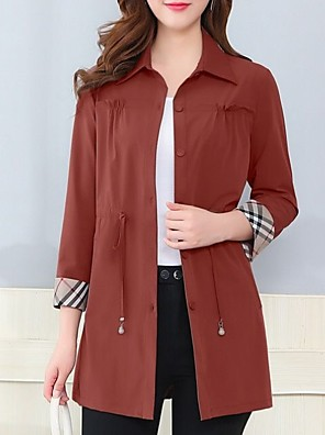 cheap Women's Coats & Trench Coats-Women's Trench Coat Daily Long Solid Colored Red / Army Green / Brown M / L / XL