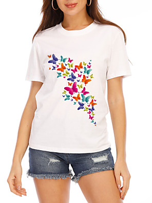 cheap Mini Dresses-Women's T-shirt Graphic Print Round Neck Tops Loose 100% Cotton Cotton Basic Basic Top White