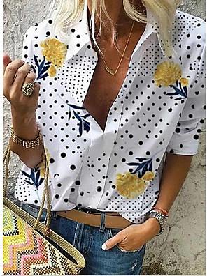 رخيصةأون بلوزات نسائية-نسائي قميص ورد قبعة القميص قمم الربيع الصيف أبيض أزرق رمادي