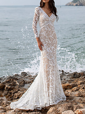cheap Wedding Dresses-Mermaid / Trumpet Wedding Dresses V Neck Sweep / Brush Train Lace Long Sleeve Beach Sexy See-Through with Embroidery 2020