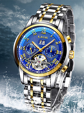 cheap Mechanical Watches-LIGE Men's Mechanical Watch Automatic self-winding Modern Style Stylish Classic Water Resistant / Waterproof Stainless Steel Analog - Black / Silver Black+Gloden Blue / Noctilucent