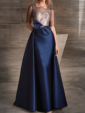 cheap Evening Dresses-A-Line Color Block Elegant Engagement Formal Evening Dress Illusion Neck Half Sleeve Detachable Lace Satin with Bow(s) 2020