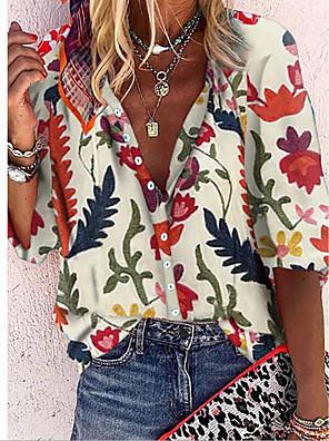 رخيصةأون بلوزات نسائية-نسائي قميص الرسم قبعة القميص قمم فضفاض الصيف أبيض أحمر أصفر