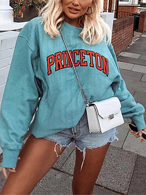 cheap Women's T-shirts-Women's Daily Pullover Sweatshirt Letter Basic Hoodies Sweatshirts  Loose Blue