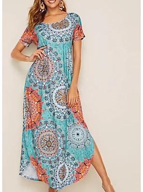cheap For Young Women-Women's A-Line Dress Midi Dress - Short Sleeves Print Summer Casual 2020 Green S M L XL XXL