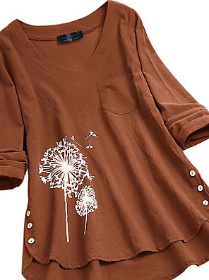 cheap Women's Blouses & Shirts-Women's Blouse Graphic Loose Tops Cotton V Neck Orange Navy Blue / Long Sleeve