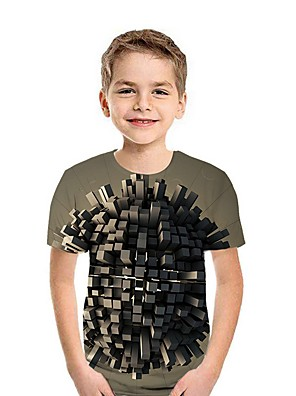 cheap Boys' Tops-Kids Boys' Street chic Geometric Short Sleeve Tee Black