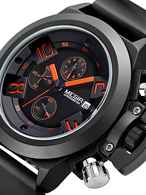 cheap Sport Watches-MEGIR Men's Sport Watch Quartz Modern Style Sporty Fashion Calendar / date / day Silicone Black / White Analog - White Black Two Years Battery Life / Chronograph / Noctilucent / Large Dial