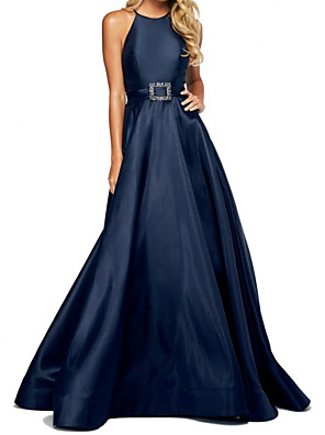cheap Prom Dresses-A-Line Elegant Minimalist Wedding Guest Formal Evening Dress Halter Neck Sleeveless Floor Length Satin with Sash / Ribbon 2020