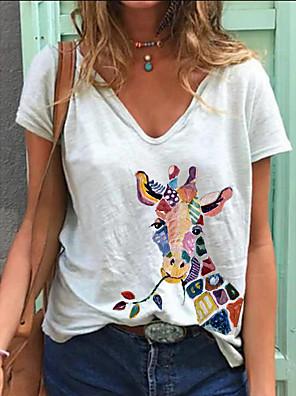 cheap Bikinis-Women's T-shirt Animal Print V Neck Tops Summer White Blue Blushing Pink