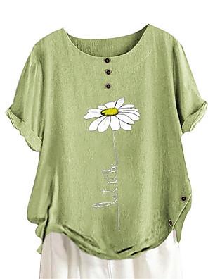cheap Women's Blouses & Shirts-Women's Blouse Graphic Loose Tops Cotton Blushing Pink Green Navy Blue / Short Sleeve