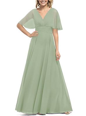 cheap Evening Dresses-A-Line V Neck Floor Length Chiffon Bridesmaid Dress with Pleats