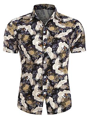 cheap Shirts-Men's Shirt Animal Print Short Sleeve Tops Hawaiian Button Down Collar White