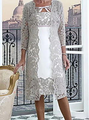 cheap Mother of the Bride Dresses-Two Piece A-Line Mother of the Bride Dress Wrap Included Jewel Neck Knee Length Lace Half Sleeve with Appliques 2020