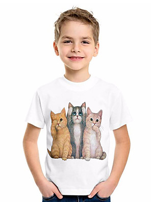 cheap Boys' Tops-Kids Boys' Basic Cat Animal Print Short Sleeve Tee White