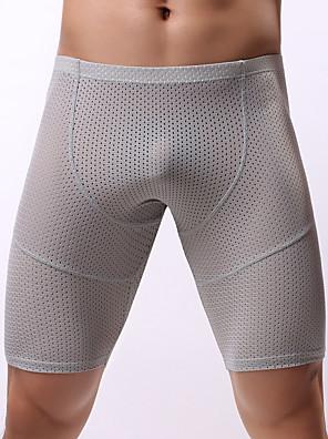 cheap Men's Exotic Underwear-Men's Mesh Boxers Underwear - Normal Low Waist Light Blue White Black M L XL