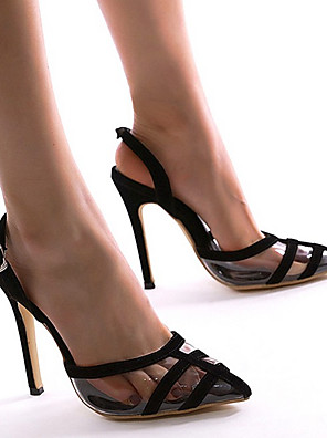 cheap Women's T-shirts-Women's Sandals Summer Stiletto Heel Pointed Toe Daily Suede / PVC Black / Clear / Transparent / PVC
