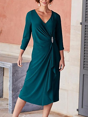 cheap Evening Dresses-Sheath / Column Mother of the Bride Dress Elegant V Neck Ankle Length Chiffon 3/4 Length Sleeve with Pleats Crystal Brooch 2020