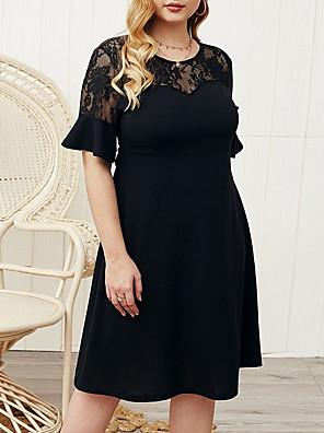 cheap Plus Size Dresses-Women's A-Line Dress Knee Length Dress - Half Sleeve Solid Color Summer Work 2020 Black XL XXL XXXL XXXXL