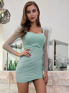 cheap Mini Dresses-Women's Sheath Dress Short Mini Dress - Long Sleeve Print Zipper Summer Casual Vintage Daily Going out Puff Sleeve 2020 Light Green S M L