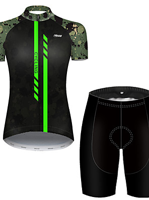 cheap Mini Dresses-21Grams Women's Short Sleeve Cycling Jersey with Shorts Nylon Polyester Black / Green Stripes Patchwork Camo / Camouflage Bike Clothing Suit Breathable 3D Pad Quick Dry Ultraviolet Resistant