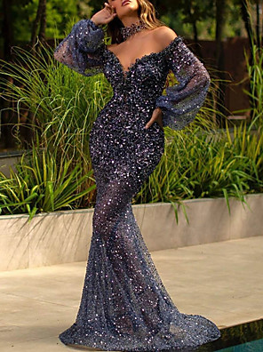 cheap Evening Dresses-Mermaid / Trumpet Sexy Sparkle Engagement Formal Evening Dress V Neck Long Sleeve Sweep / Brush Train Sequined with Sequin 2020