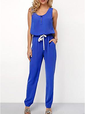 povoljno Ženski jednodijelni kostimi-Žene Crn Plava Red Jumpsuits Onesie, Jednobojni S M L