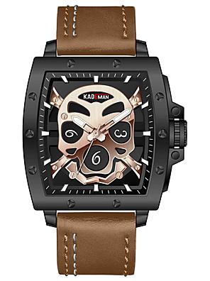 cheap Sport Watches-KADEMAN Men's Sport Watch Quartz Modern Style Stylish Skull Water Resistant / Waterproof Leather Analog - Black / Silver Black+Gloden Brown / Stainless Steel