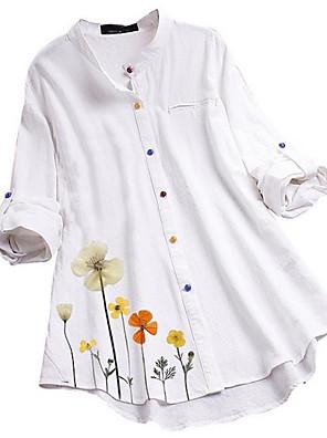 cheap Women's Blouses & Shirts-Women's Blouse Graphic Oversized Tops White Blue Green / Long Sleeve