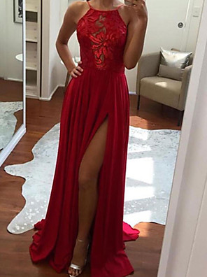 cheap Prom Dresses-Sheath / Column Sexy Boho Engagement Formal Evening Dress Halter Neck Sleeveless Sweep / Brush Train Chiffon with Pleats Split 2020